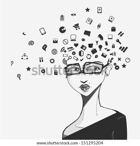 social network face - stock vector