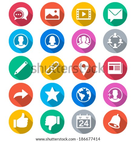 social network flat color icons - stock vector