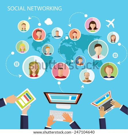 Social network flat design illustration blue background - stock vector