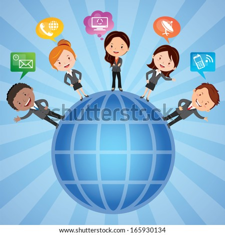 Social network. Group of International business people with chat or thinking bubbles.  - stock vector