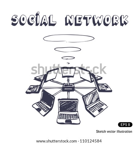 Social network. Hand drawn sketch illustration isolated on white background - stock vector