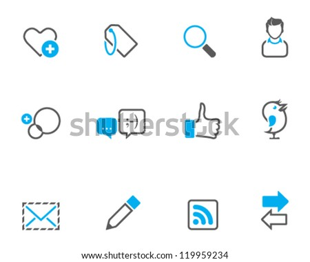 Social network icon series in duo tone color style - stock vector