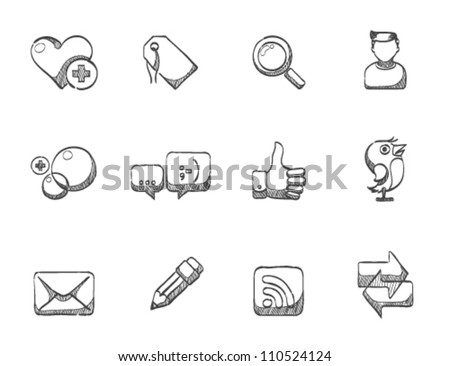 Social network icon series in sketch - stock vector