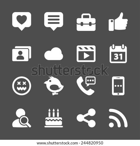 social network icon set, vector eps10. - stock vector