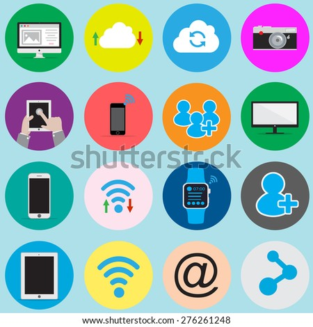social network icons and internet services icons - vector - stock vector