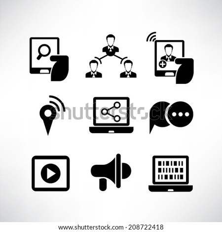 social network icons, media icons set - stock vector