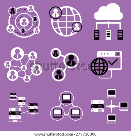 Social network icons, network and communication icons - stock vector