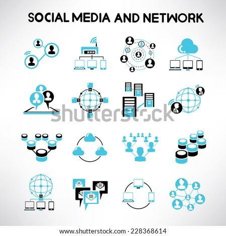 social network icons, network and communication icons, black and blue theme - stock vector