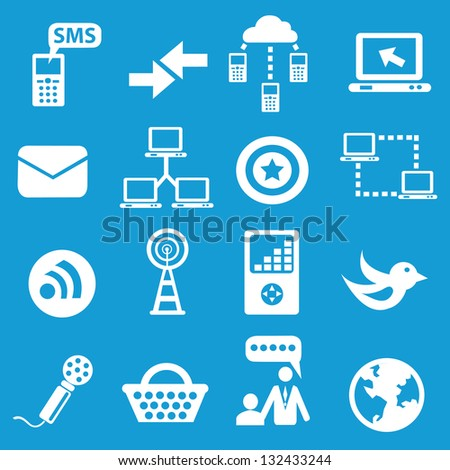 Social network icons on blue background,vector - stock vector