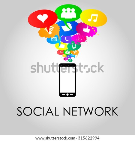 Social network icons on different colors of thought bubbles with mobile phone. Vector