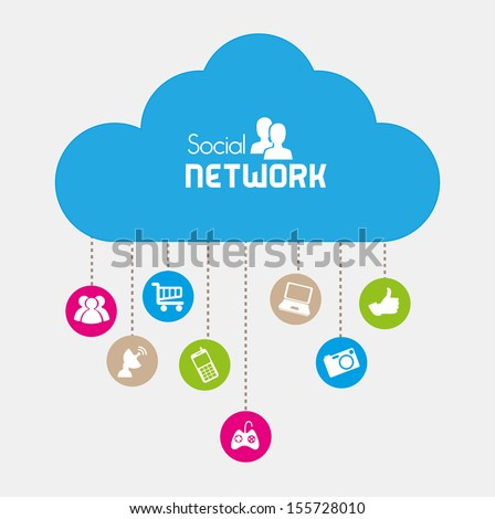 social network icons over beige background vector illustration   - stock vector