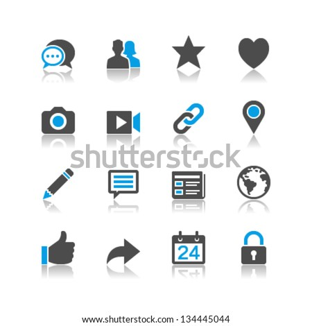 Social network icons reflection theme - stock vector