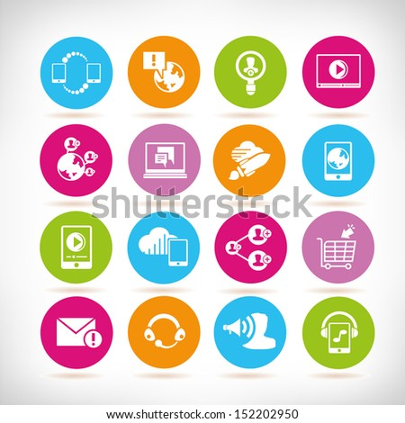 social network icons, round button set - stock vector