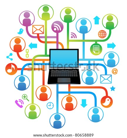 social network laptop.communication in the global computer networks - stock vector
