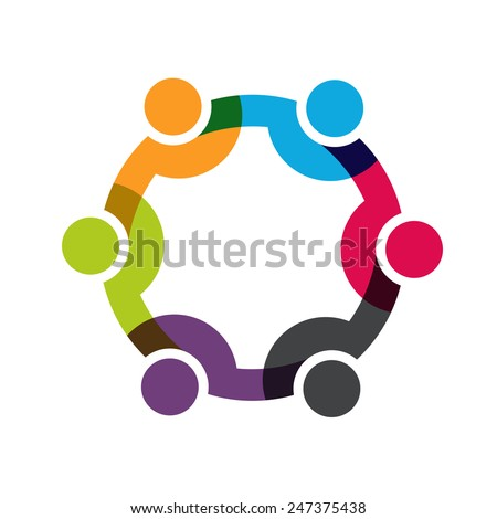 Social Network logo, Group of 6 people business men - stock vector