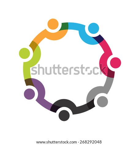 Social Network logo, Group of 7 people business men. - stock vector