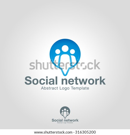 Social Network logo template. Team Community Partners Corporate branding identity - stock vector