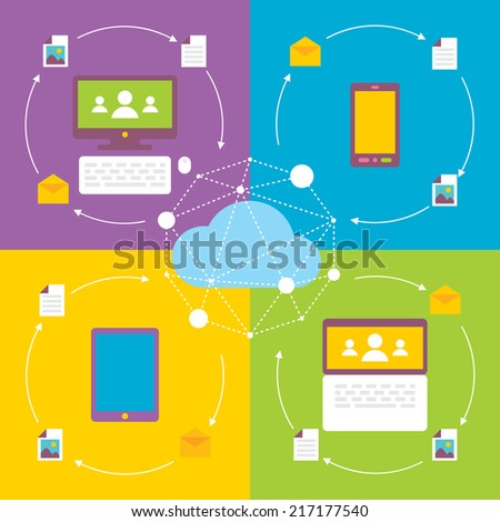 social network media communication concept, flat design illustration vector - stock vector