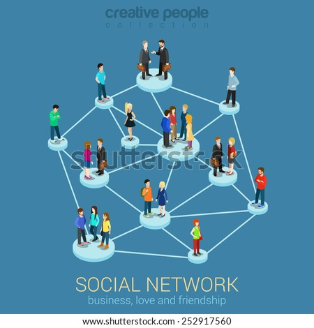 Social network media global people communication information sharing flat 3d web isometric infographic concept vector. Pedestals connection business love friendship. Creative people collection. - stock vector