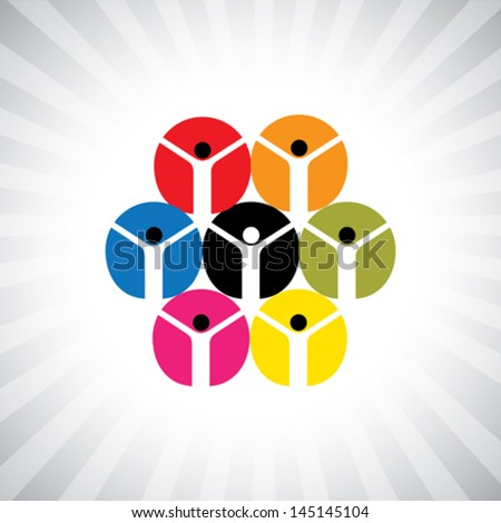 social network of community people as circle- simple vector graphic. This illustration can also represent employee diversity, people supporting each other, united workers, people community, etc - stock vector