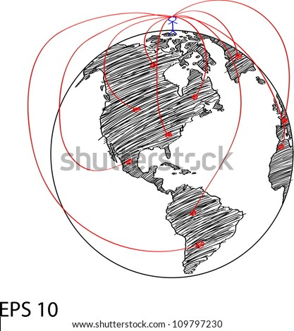 Social Network on the World Map Globe Vector Line Illustrator, EPS 10.