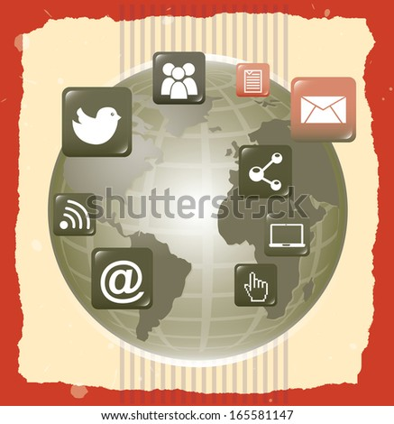 social network over lineal  background vector illustration