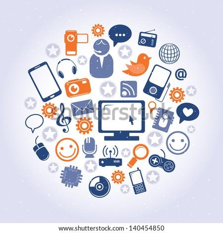 Social network pattern - stock vector