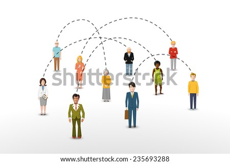 Social network people connection concept vector illustration - stock vector