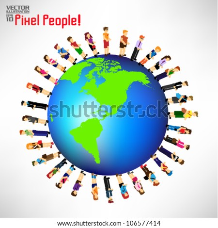 social network - people standing on globe vector icon design
