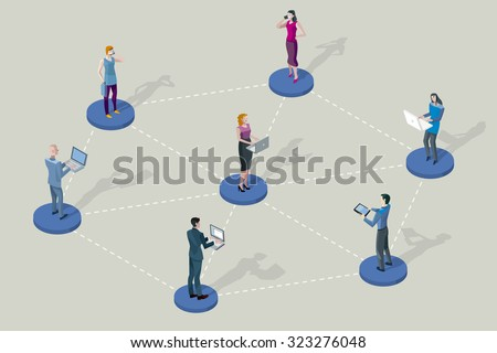 Social network people. They are standing on pedestals / circles. All they are interconnected by their devices (laptop, tablet, smartphones).   - stock vector