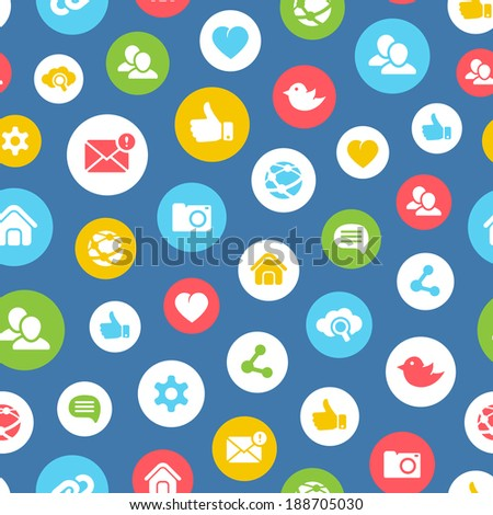 Social network seamless background pattern with circular icons showing like  chat  group  community  communication  camera  mail  twitter  cloud computing and links