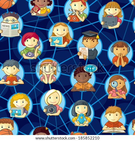 Social Network Seamless Pattern With Cute Personages - stock vector