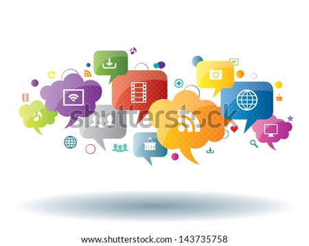 social network, sharing and security in the internet - stock vector