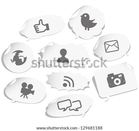 Social network sign and icons on note
