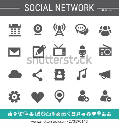 Social network simple black icons - stock vector