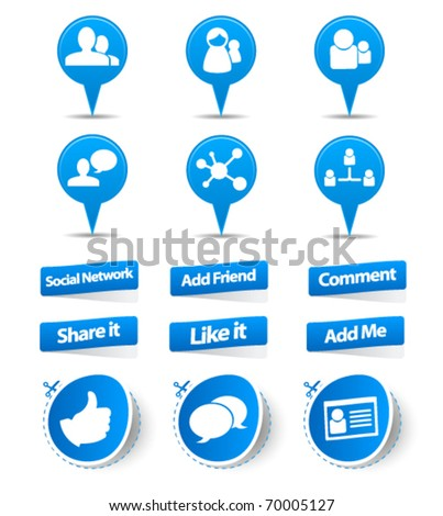 Social network sticker and label collection - stock vector