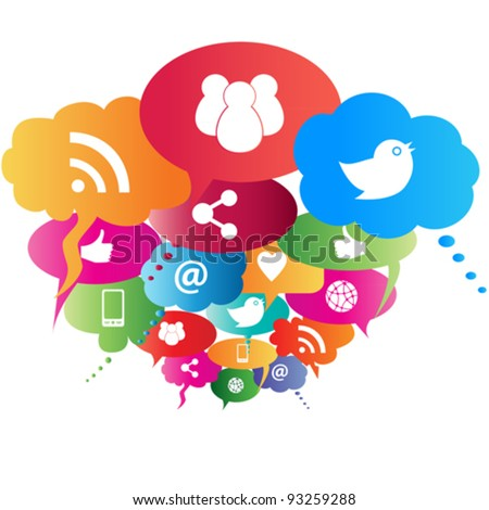 Social network symbols in speech balloons - stock vector