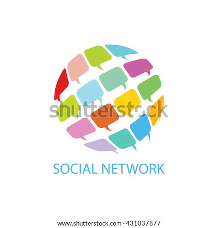 Social network symbols in speech balloons. Global communication concept image.