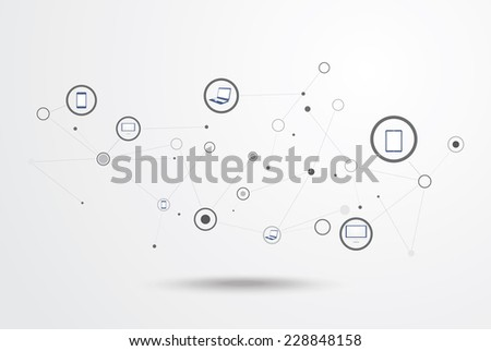 Social network telephone. Communication in the global computer networks. - stock vector