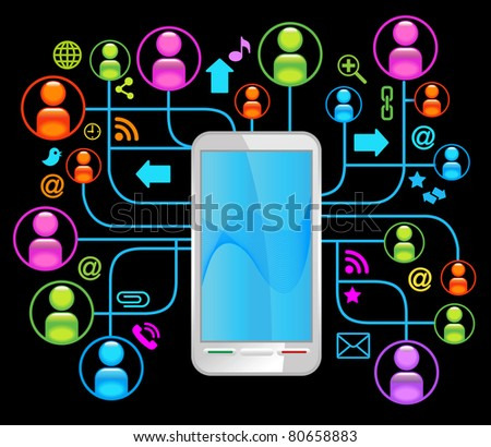 social network telephone .communication in the global computer networks.communication in the global telephone network - stock vector