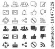 Social network thin icons, included normal and enable state. - stock vector
