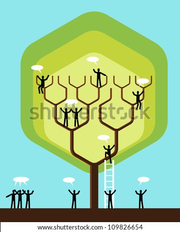 Social network tree business team structure. Vector illustration layered for easy manipulation and custom coloring. - stock vector