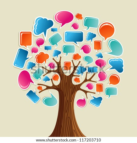 Social network tree with glossy speech bubbles leaves. Vector illustration layered for easy manipulation and custom coloring. - stock vector