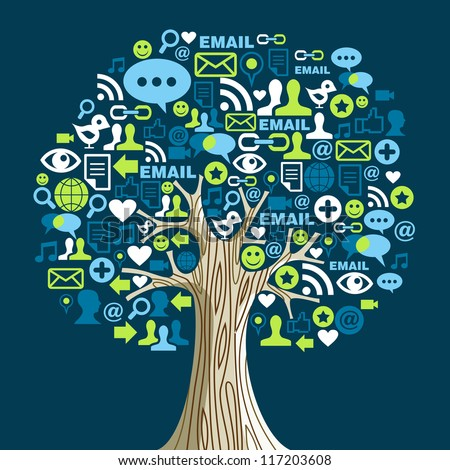 Social network tree with media icons leaves. Vector illustration layered for easy manipulation and custom coloring.