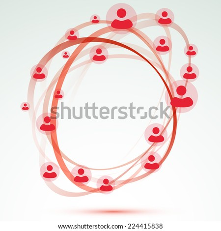 Social network user circle friendship relation. Vector illustration - stock vector
