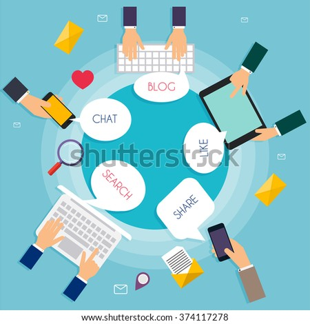 Social Network Vector Concept. Carton speech bubbles with Social Media Words. Flat Design Illustration for Web Sites Infographic Design with laptop avatars. Communication Systems and Technologies. - stock vector