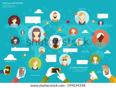 Social Network Vector Concept. Flat Design Illustration for Web Sites Infographic Design. - stock vector