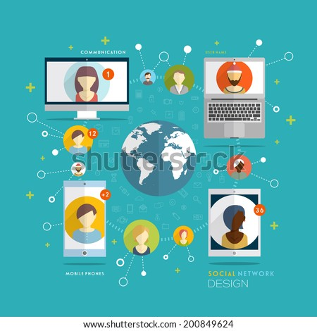 Social Network Vector Concept. Flat Design Illustration for Web Sites Infographic Design. Communication Tools and Technologies. Mobile Web Communication Systems. - stock vector