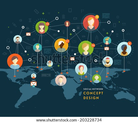 Social Network Vector Concept. Flat Design Illustration for Web Sites Infographic Design. Communication Systems and Technologies. - stock vector