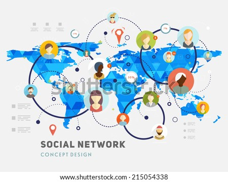 Social Network Vector Concept. Flat Design Illustration for Web Sites Infographic Design. Earth Geometric Map. Mobile Technologies. People Icons. - stock vector